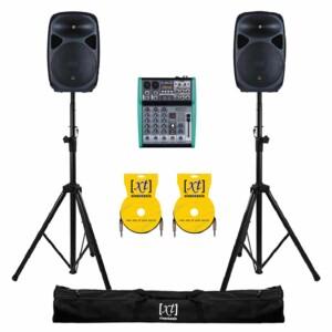impianto audio con 2 casse attive da 200 watt mixer supporti cavi e custodie inclusi